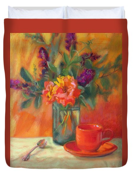 Summer Song- Orange Roses And Butterfly Bush Blooms Duvet Cover