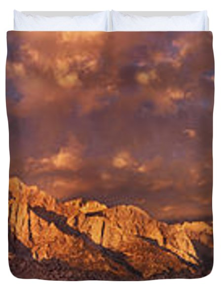Duvet Cover featuring the photograph Summer Storm Clouds Over The Eastern Sierras California by Dave Welling