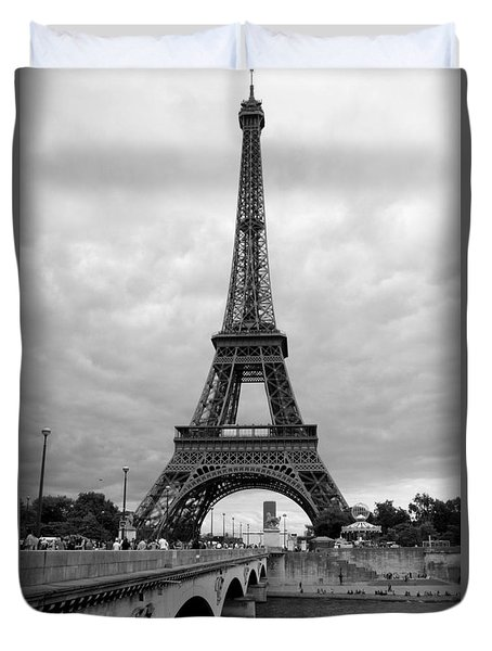 Summer Storm Over The Eiffel Tower Duvet Cover