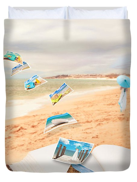 Summer Vacation Postcards Duvet Cover by Amanda Elwell