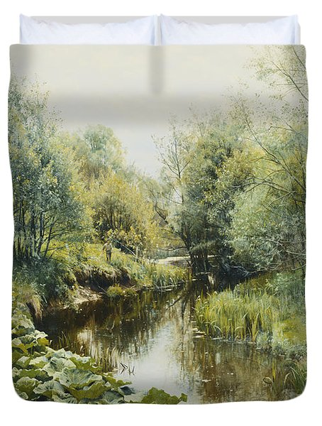 Summerday At The Stream Duvet Cover by Peder Monsted