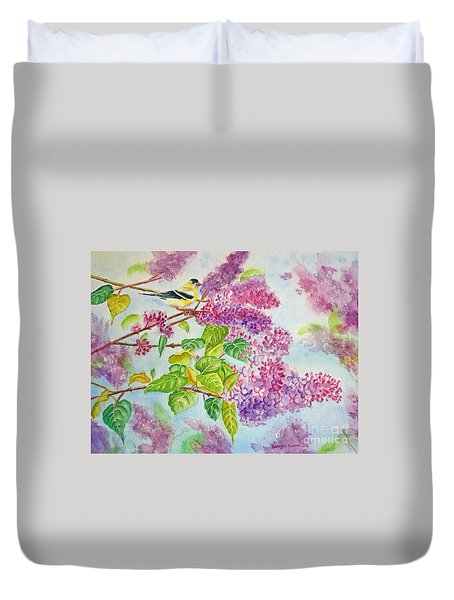 Summertime Arrival II - Goldfinch And Lilacs Duvet Cover by Kathryn Duncan