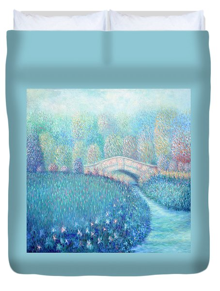 Duvet Cover featuring the painting Summertime Blues by Lynn Buettner