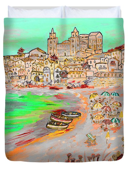 Summertime In Cefalu' Duvet Cover by Loredana Messina