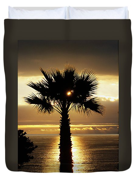 Sun And Palm And Sea Duvet Cover