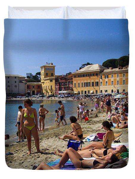 Sun Bathers In Sestri Levante In The Italian Riviera In Liguria Italy Duvet Cover by David Smith