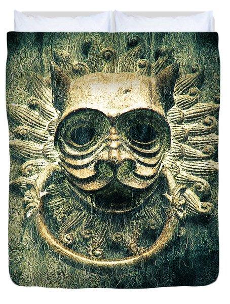 Sun Cat Door Knocker Duvet Cover