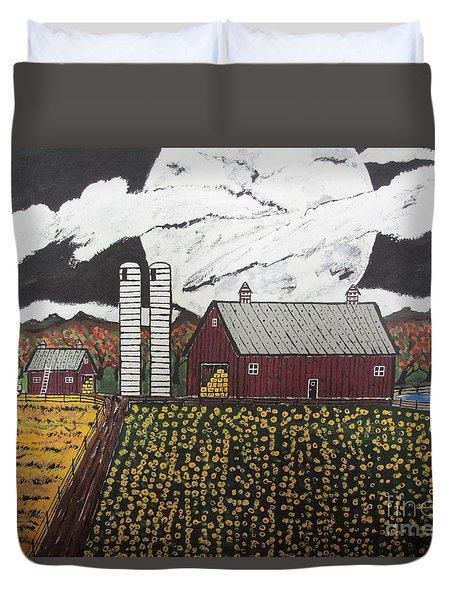 Duvet Cover featuring the painting Sun Flower Farm by Jeffrey Koss