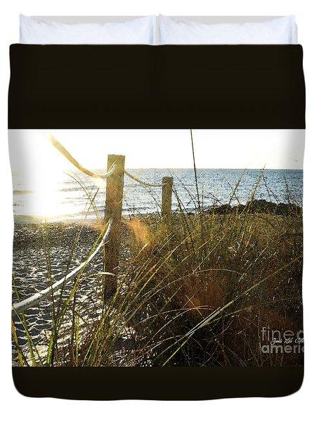 Sun Glared Grassy Beach Posts Duvet Cover