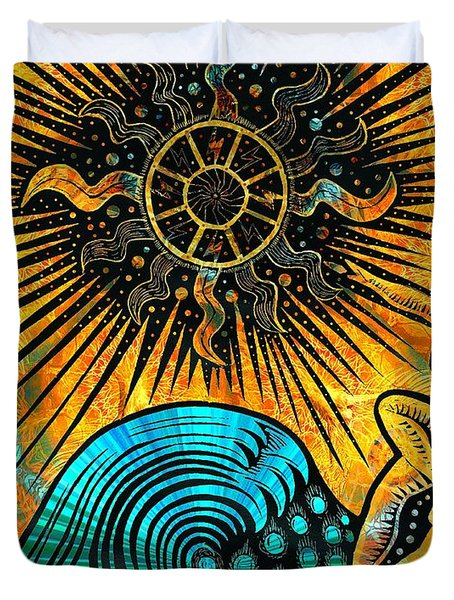 Big Sur Sun Goddess Duvet Cover