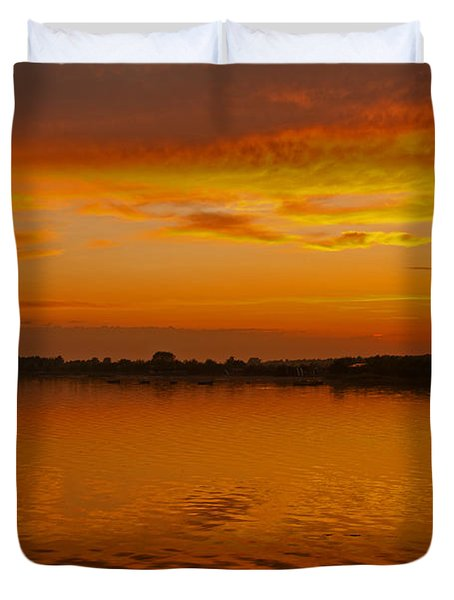 Duvet Cover featuring the pyrography Sun Going Down In Jastarnia by Julis Simo