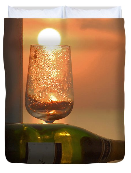 Duvet Cover featuring the photograph Sun In Glass by Leticia Latocki