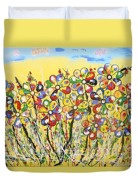 Sun-kissed Flower Garden Duvet Cover