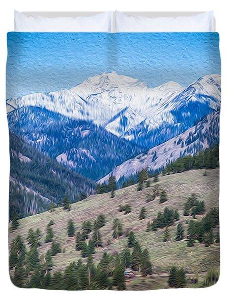 Sun Mountain View Of Mt Gardner In Springtime Duvet Cover by Omaste Witkowski