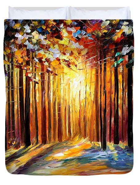 Sun Of January - Palette Knife Landscape Forest Oil Painting On Canvas By Leonid Afremov Duvet Cover