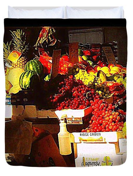 Duvet Cover featuring the photograph Sun On Fruit by Miriam Danar