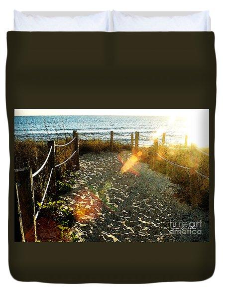 Sun Ray Beach Path Duvet Cover