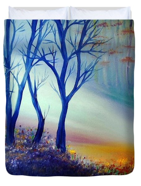 Duvet Cover featuring the painting Sun Ray In Blue  by Lilia D