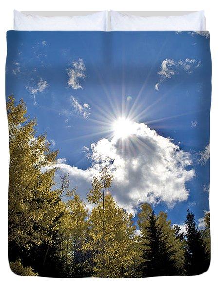 Sun Rays Across Colorado Mountain Duvet Cover