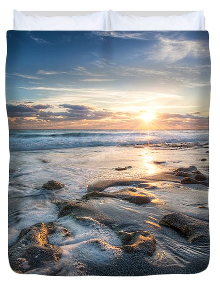 Sun Rays On The Ocean Duvet Cover by Debra and Dave Vanderlaan