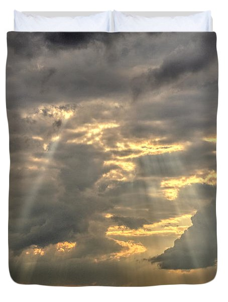 Sun Rays Over A Field Duvet Cover by Julis Simo