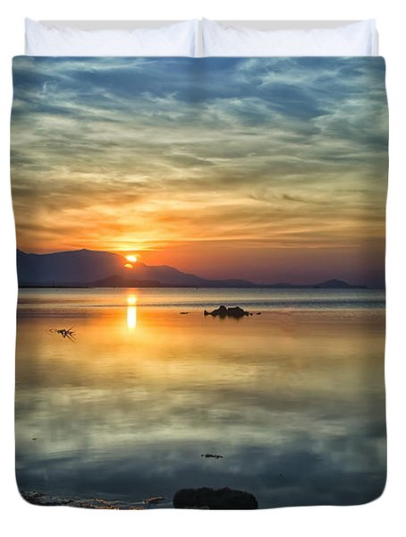 Duvet Cover featuring the photograph Sun Reflection by Michelle Meenawong