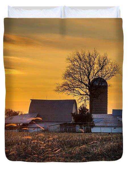 Sun Rise Over The Farm Duvet Cover