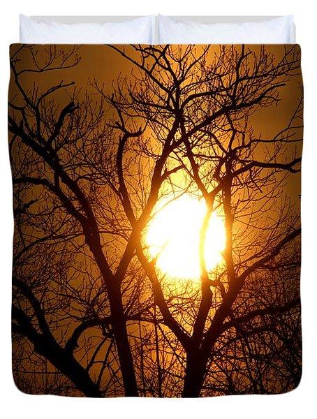 Sun Rise Sun Pillar Silhouette Duvet Cover
