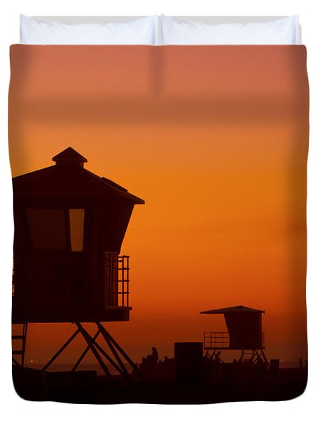 Sun Sets On Huntington Beach Duvet Cover
