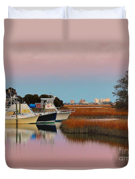 Duvet Cover featuring the photograph Sun Setting At Murrells Inlet by Kathy Baccari