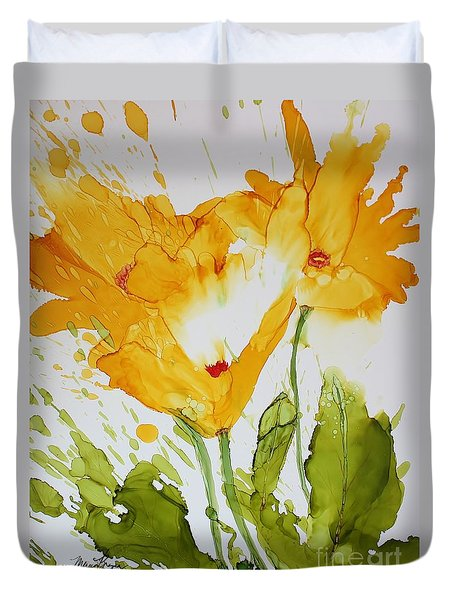 Sun Splashed Poppies Duvet Cover