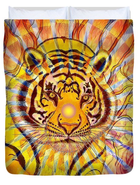 Duvet Cover featuring the painting Sun Tiger by Joseph J Stevens
