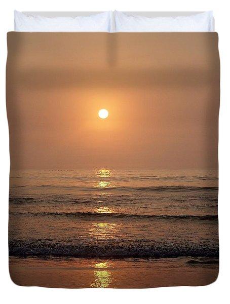 Sun Up Along Hampton Beach Duvet Cover by Eunice Miller
