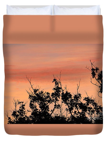 Duvet Cover featuring the photograph Sun Up Silhouette by Joy Hardee