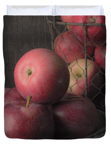 Sun Warmed Apples Still Life Square Duvet Cover by Edward Fielding