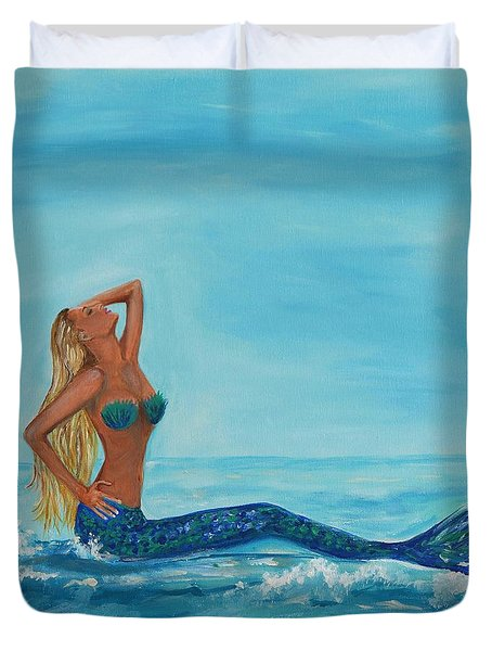 Sunbathing Mermaid Duvet Cover by Leslie Allen