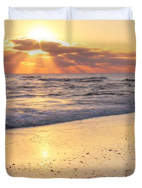 Sunbeams On The Beach Duvet Cover