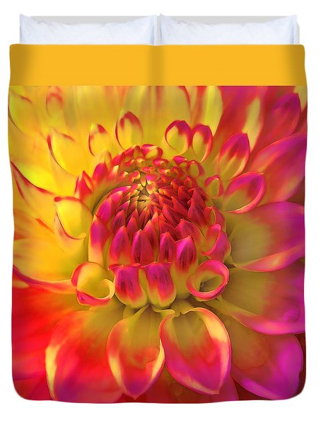 Sunburst Dahlia Flower Duvet Cover