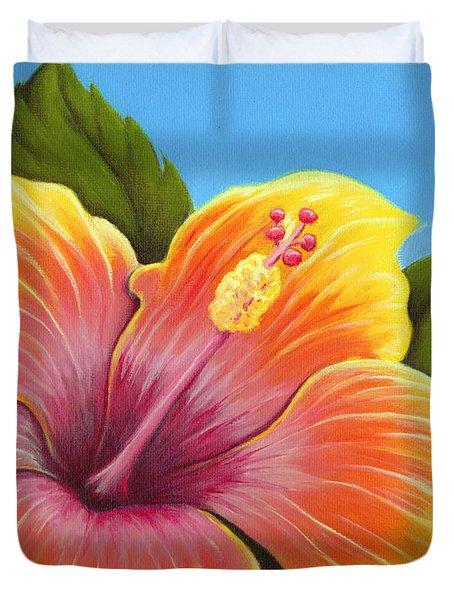 Sunburst Hibiscus Duvet Cover by Adam Johnson