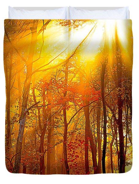 Sunburst In The Forest Duvet Cover