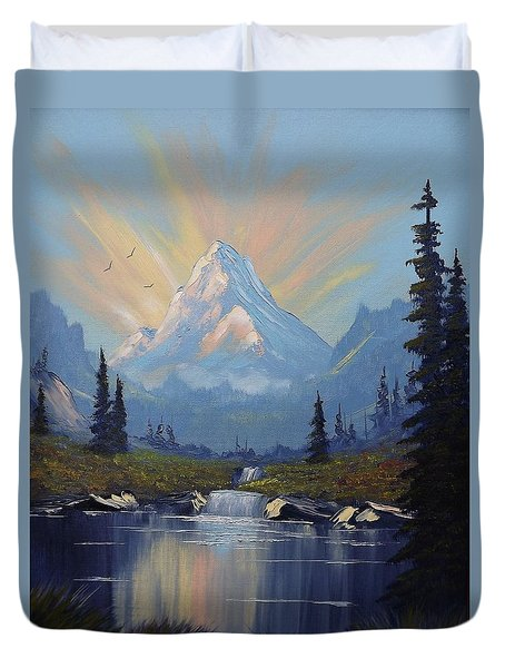 Duvet Cover featuring the painting Sunburst Landscape by Richard Faulkner