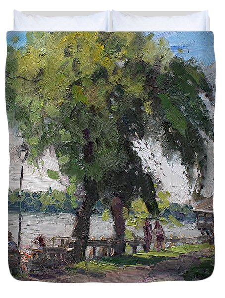 Sunday At Lewiston Waterfront Park Duvet Cover