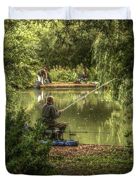 Sunday Fishing At The Lake Duvet Cover