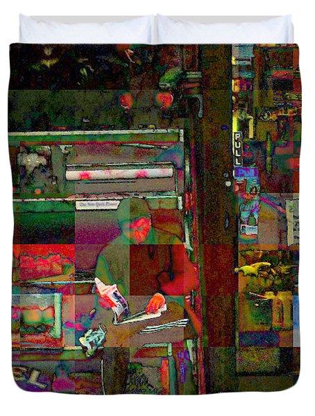 Sunday Paper Duvet Cover by Miriam Danar