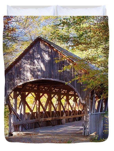 Sunday River Covered Bridge Duvet Cover