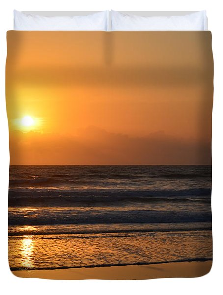 Duvet Cover featuring the photograph Sundays Golden Sunrise by DigiArt Diaries by Vicky B Fuller