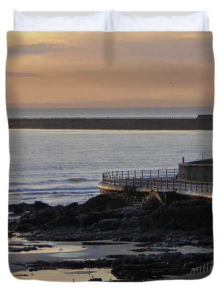 Duvet Cover featuring the photograph Sunderland Sunrise by Julia Wilcox