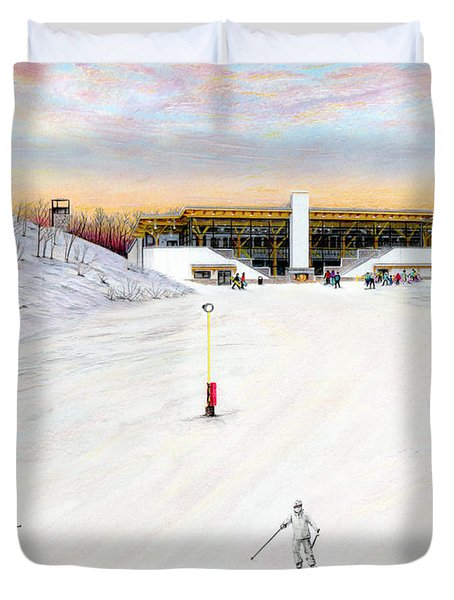 Duvet Cover featuring the painting Sundial Lodge At Nemacolin Woodlands Resort by Albert Puskaric