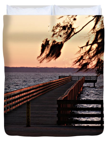 Sundown At Shands Dock Duvet Cover
