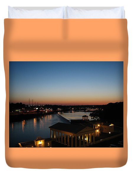 Sundown On The Schuylkill Duvet Cover